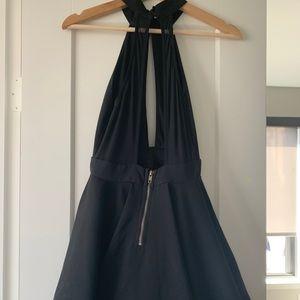 Black halter neck swing dress